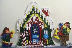 3 piece Elf Toy Shop Christmas Lawn Yard Art Decoration