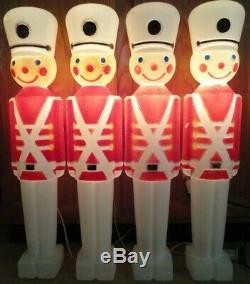 30 Union Soldiers Nutcracker Christmas Blow Mold Light Yard Decor Lot Of 4 Vtg