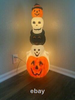 32 Vtg Double Light Empire Blow Mold Halloween Totem Pole Pumpkin Witch skull