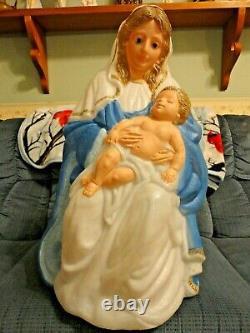 36 Tpi Joseph Mary Jesus Nativity Christmas Blow Mold Light Up Yard Decor Vtg