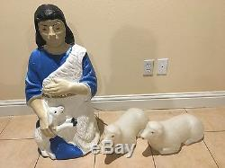 3Pc VTG 60s Beco Lighted Xmas BlowMold Nativity 33Shepherd Holding Lamb 2 Sheep