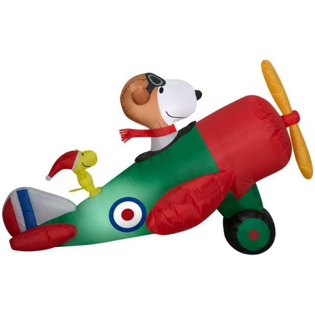 4.5 Ft Peanuts Snoopy & Woodstock In Airplane Airblown Lighted Yard Inflatable