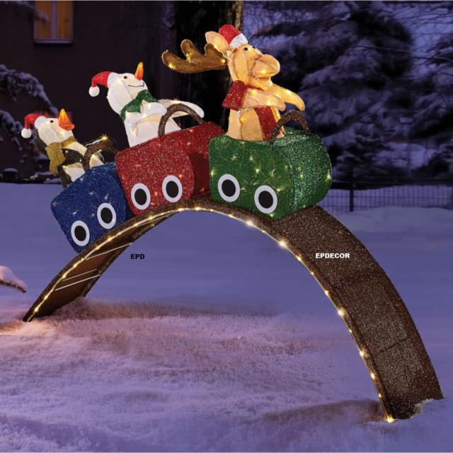 4.6' Christmas Snowman, Moose, Penguin On Lighted Roller Coaster Yard Decor