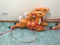 4 Vtg Empire 35 Long Blow Mold Reindeer For Santas Sleigh Christmas Yard Decor
