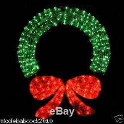 48 in. Lighted wreath Crystal 3-D Outdoor Christmas Wreath Decoration red green