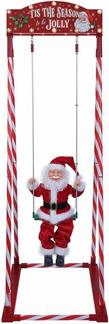 5 Ft Animated Swinging Santa Christmas Outdoor Decor Plays 15 Christmas Carols