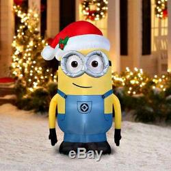 5' Inflatable Minion Dave withSanta Hat LED Lighted Outdoor Christmas Decoration