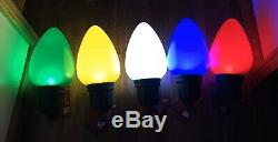 5 New 13 Blow Mold Christmas LED C7 C9 Light Bulbs Red Blue Green Yellow Timer