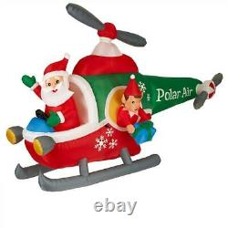 5 ft Animatronic Lighted Helicopter Christmas Santa & Elf Gemmy Inflatable