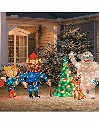 5 Pc Pre Lit Rudolph, Bumble Tree, Hermey, & Yukon Cornelius Outdoor Christmas