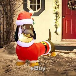 5FT Christmas Inflatable Wiener Dog with Suit Blow Up Outdoor Decoration NEW