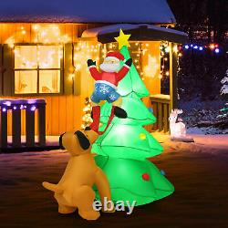 6.5FT Inflatable Christmas Tree Santa Decor withLED Lights Outdoor Yard Decoration
