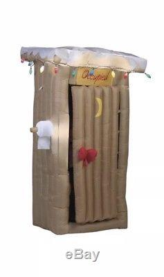 6 FT ANIMATED SANTA IN OUTHOUSE Airblown Lighted Yard Inflatable
