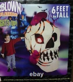 6 FT Tall Airblown Inflatable Halloween Skull with Spiders