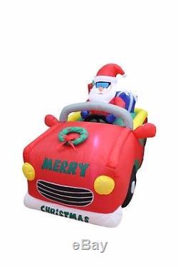 6 Foot Long Christmas Holiday LED Inflatable Santa Riding on Car Yard Decoration