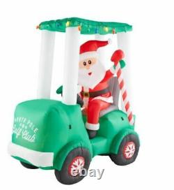 6 Ft SANTA ON GOLF CART Airblown Lighted Yard Inflatable