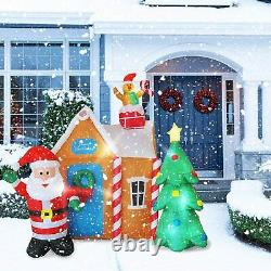 6 Ft inflatable Gingerbread House with Santa Claus and Christmas Tree Lighed