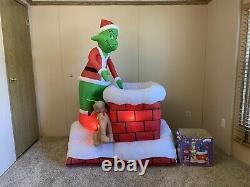 6' Gemmy Airblown Grinch Pulling Xmas Tree Chimney 2007 Yard Inflatable Rare
