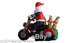 6' Inflatable Santa on Motorbike Reindeer Lighted Outdoor Christmas Decoration