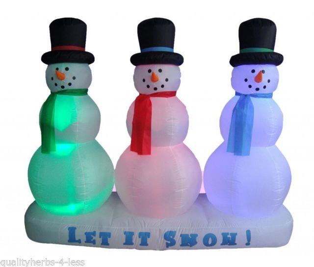 6' Inflatable Snowmen Withred+green+blue Led Lights Outdoor Christmas Decoration