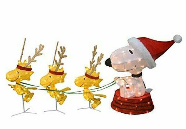 60 Peanuts Led Prelit Snoopy & Woodstock In A Sled Reindeer Christmas Yard Art
