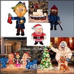 60's TV Rudolph the Reindeer 12 PC. Pre Lit Anniversary Christmas Yard Ensemble