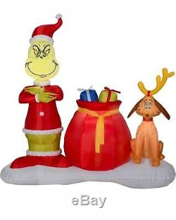 6FT GRINCH and MAX Christmas Airblown Yard Inflatable Outdoor Decoration NIB