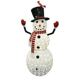 6ft Tinsel Collapsible Snowman LED Yard Light for Christmas Outdoor Yard Garden