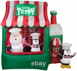 7.5' Ft Christmas Animated Santa Claus Cand Cane Taffy Shop Lighted Yard Decor