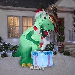 7.5' SANTA T-REX DINOSAUR CHRISTMAS Airblown Inflatable Gemmy Yard Decor Prop