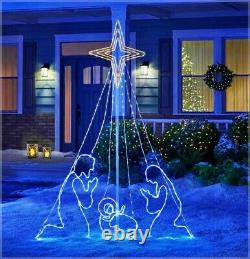 7' Commercial LED Wired Holy Family Nativity Animated Star Christmas Yard Decor