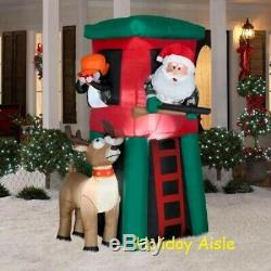 7 FT COMICAL SANTA IN DEER STAND Christmas Airblown Lighted Yard Inflatable