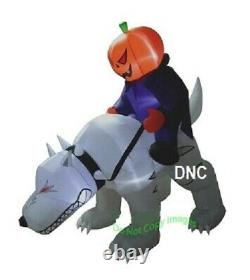 7 FT Halloween Airblown Pumpkin Reaper Riding Wolf Lighted Inflatable Yard Decor