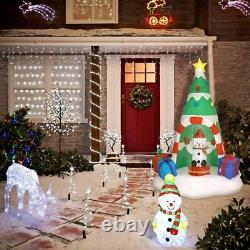 7 Feet Christmas Inflatable Tree with Rotating Snowmen and Twinkle Lights Yard D