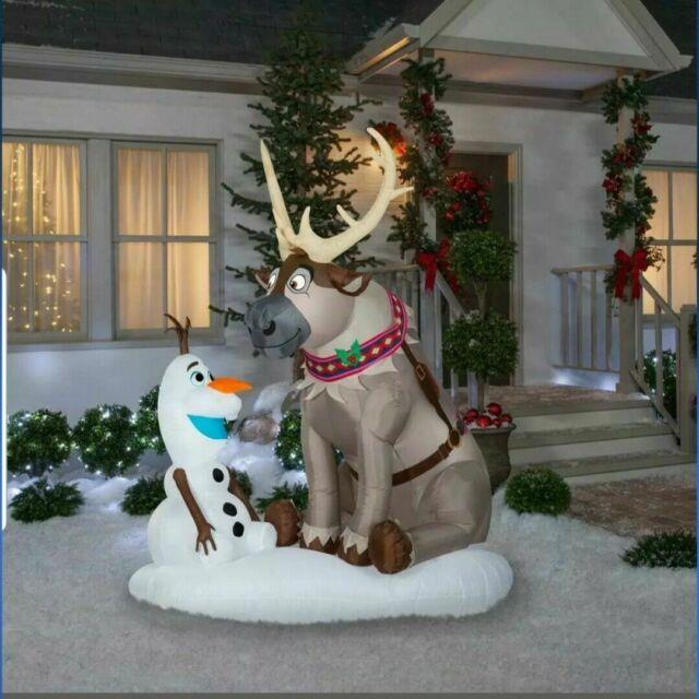 7 Ft Frozen Olaf And Sven Christmas Airblown Lighted Yard Inflatable