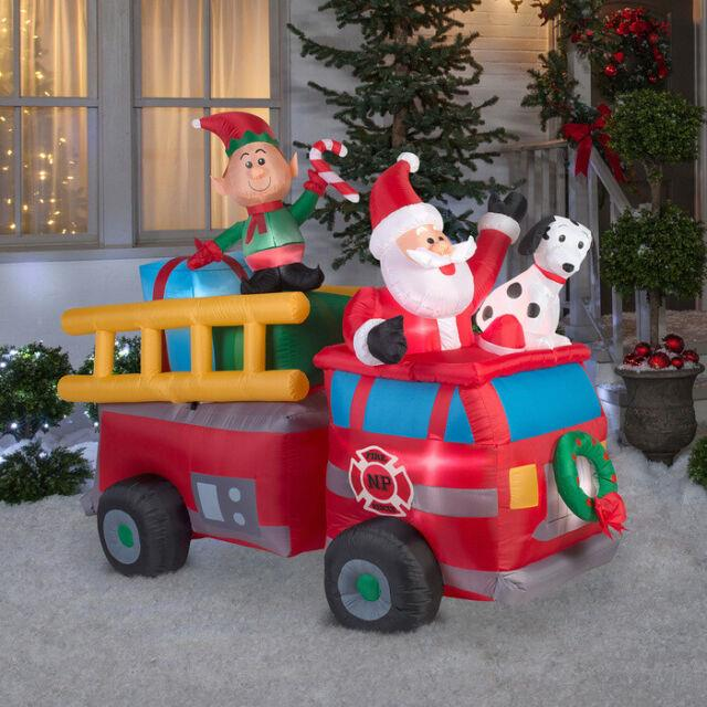 7 Ft Santa's Fire Truck Christmas Airblown Lighted Yard Inflatable Dalmation