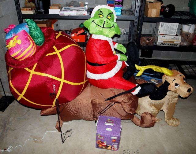 7' Gemmy Lighted Airblown Inflatable Grinch Who Stole Christmas With Max /sleigh