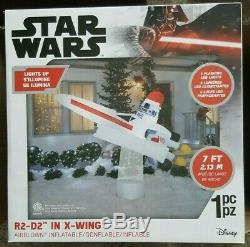 7' STAR WARS R2D2 IN X-WING TIE FIGHTER Airblown Yard Inflatable FLASHING LIGHTS