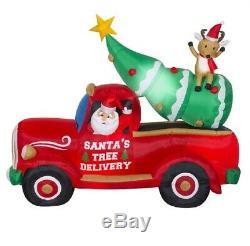 7' Vintage Santa Tree Truck Airblown Christmas Inflatable