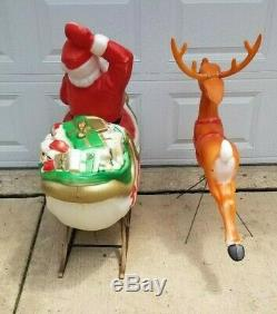 72 Santa Claus Sleigh With Reindeer Lighted Christmas Blow Mold Outdoor Yard