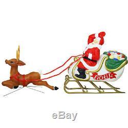72 Santa Sleigh and Reindeer Blow Mold Figure Vintage Christmas Holiday Outdoor