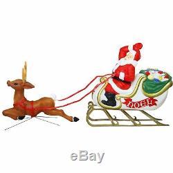 72 Santa Sleigh and Reindeer Blow Mold Figure Vintage Christmas Outdoor Decor