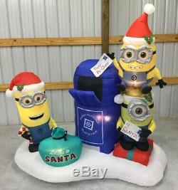7ft Gemmy Airblown Inflatable Prototype Christmas Minions withMailbox #34533