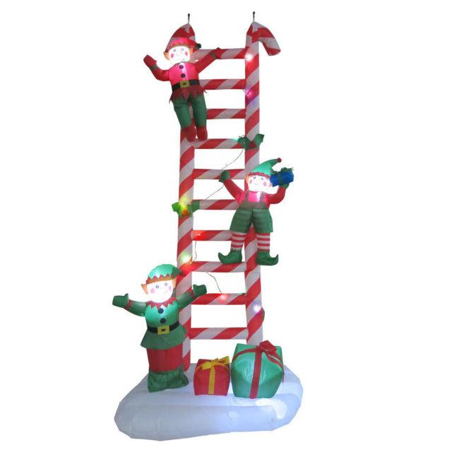8.5' Christmas Airblown Inflatable Lighted Candy Cane Ladder With Elves