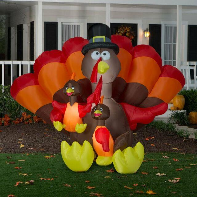8.5 Ft Giant Thanksgiving Turkey Family Airblown Lighted Yard Inflatable