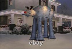 8.5' Gemmy Airblown Inflatable Star Wars AT-AT Walker As A Reindeer