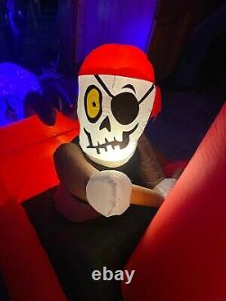 8.9 Gemmy Haunted Animated Skeleton Pirate Ship Inflatable Octopus Airblown