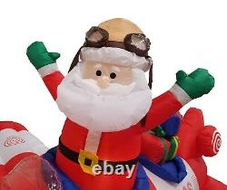 8 Foot Animated Christmas Inflatable Santa Claus Airplane Air Blown Decoration