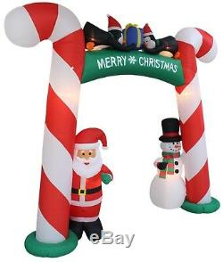 8 Foot Tall Christmas Inflatable Candy Cane Archway Santa Snowman Penguins Decor