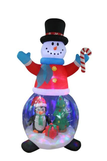 8 Foot Tall Christmas Inflatable Snowman Globe Penguin Tree Led Yard Decoration